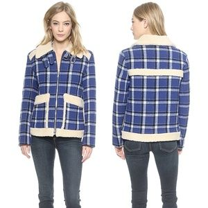 Marc by Marc Jacobs Blue Plaid Sherpa Jacket